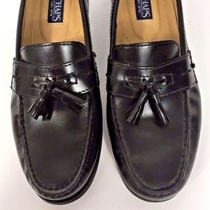 Men's Black Leather Moc Toe Tassel Dress Loafers